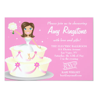 311 Miss Wright 2 Brunette Soft Pink 5x7 Paper Invitation Card