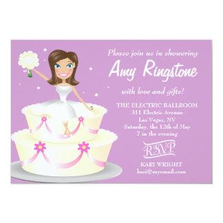 311 Miss Wright 2 Brunette Soft Purple 5x7 Paper Invitation Card