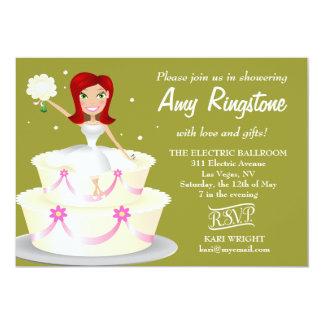 311 Miss Wright 2 Red Head Moss Green 5x7 Paper Invitation Card