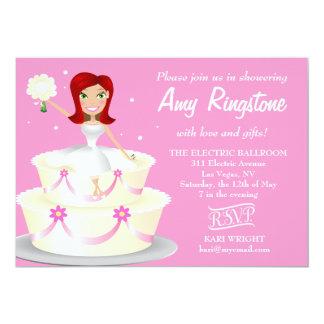 311 Miss Wright 2 Red Head Soft Pink 5x7 Paper Invitation Card
