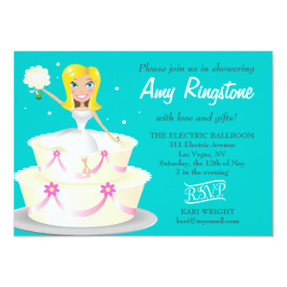 311 Miss Wright Blonde Teal 5x7 Paper Invitation Card