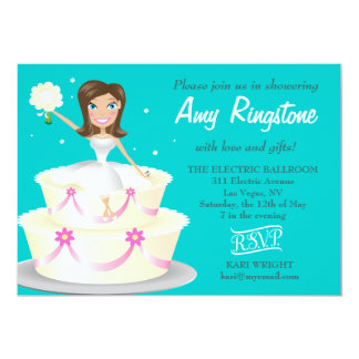 311 Miss Wright Brunette Teal 5x7 Paper Invitation Card