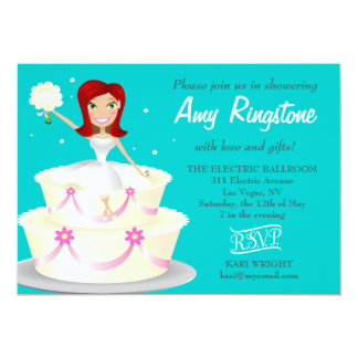 311 Miss Wright Red Head Teal 5x7 Paper Invitation Card