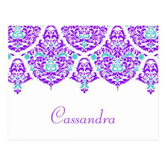 311 Mon Cherie Cassandra Plum Aqua Name Card Postcard