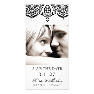 311 Mon Cherie Damask Black Save the Date Card