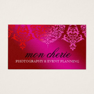 311 Mon Cherie Damask Pink & Red Dream Business Card