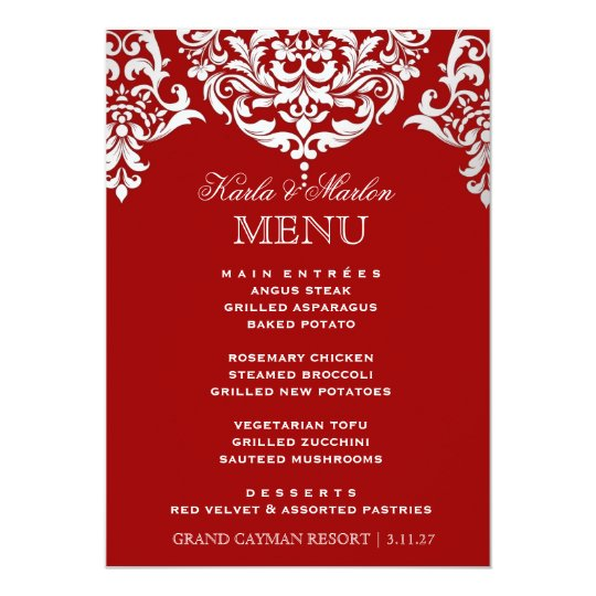 311 Mon Cherie Damask Red & Faux Silver Card