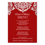 311 Mon Cherie Damask Red & Faux Silver 5x7 Paper Invitation Card
