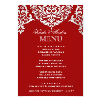 311 Mon Cherie Damask Red & Faux Silver Announcement