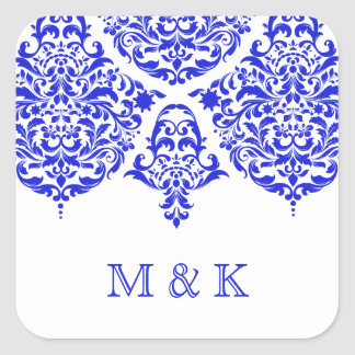 311 Mon Cherie Damask The New Blue Square Sticker