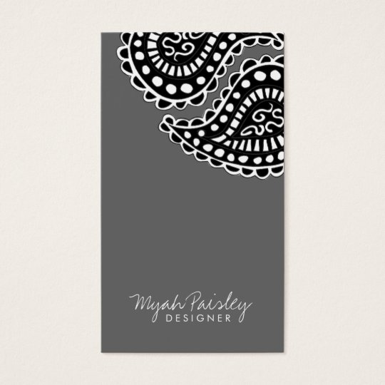 311 Myah Paisley Solid Gray Business Card