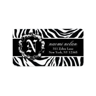 311 Naomi Zebra Print Platter Labels Black White