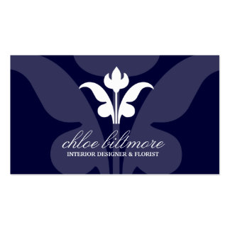 311- Navy Floral Flare Business Cards