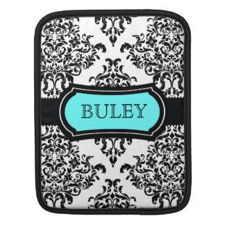 311 negro precioso de la turquesa del damasco de D Manga De iPad