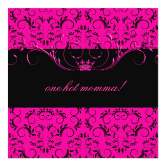 311-Night diVine Passion Pink Baby Shower 5.25x5.25 Square Paper Invitation Card