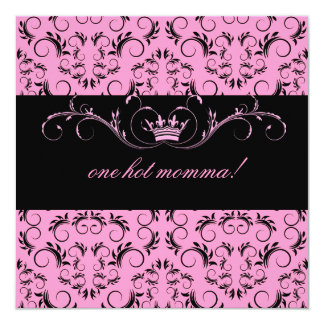 311-Night diVine Pink Baby Shower 5.25x5.25 Square Paper Invitation Card