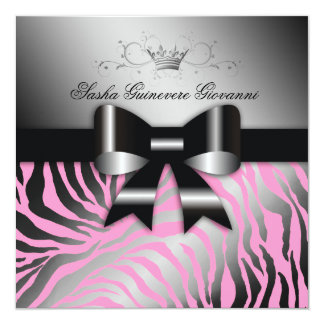 "311-Night Zebra Shimmer Black Bow Pink   Sweet 16 5.25"" Square Invitation Card"