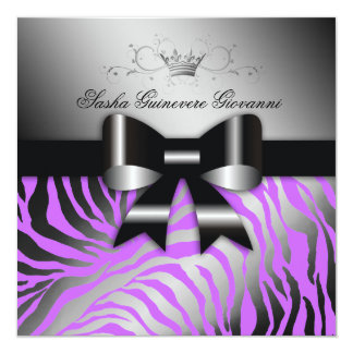 "311 Night Zebra Shimmer Electric Purple   Sweet 16 5.25"" Square Invitation Card"