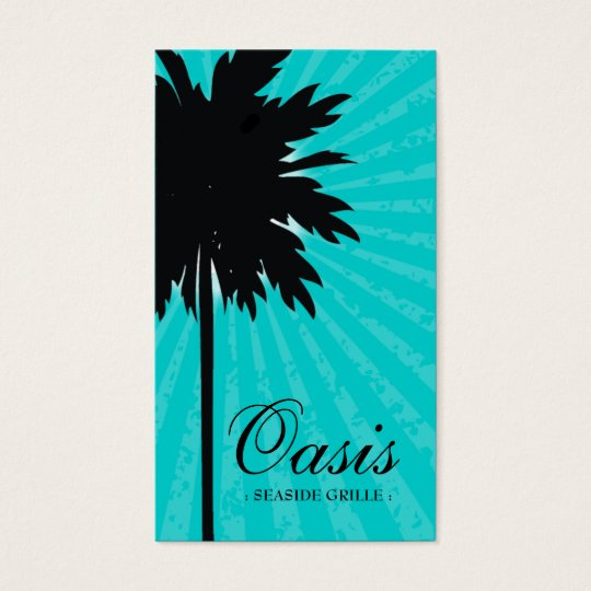 311-OASIS PALM TREE TURQUOISE BUSINESS CARD
