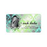 311 Ooh La La Aqua Lime Damask Address Label