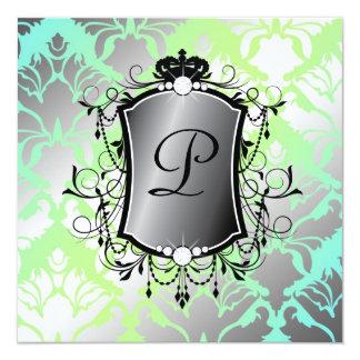 311 Ooh La La Aqua Lime Damask Baby Shower Card