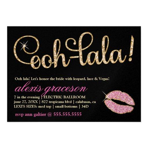 311 Ooh Lala Glitzy Kiss Sparkle Metallic Custom Invitations