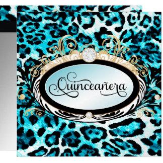 311 Opulent Gold Aqua Leopard Metallic Paper Card