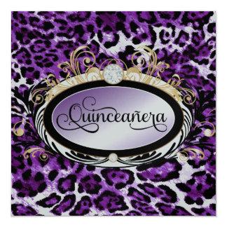 311 Opulent Gold Purple Leopard Metallic Paper Qui Card