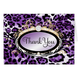 311 Opulent Gold Purple Leopard Thank You Note Card