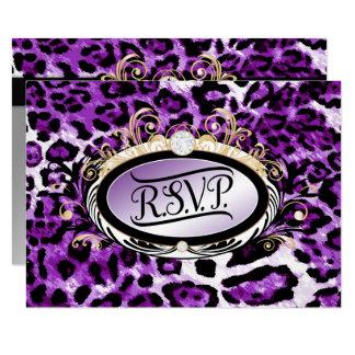 311 Opulent Gold Purple RSVP Leopard Metallic Card