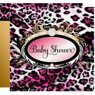 311 Opulent Hot Pink Leopard Baby Shower Metallic Card