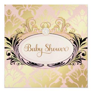 "311 Opulent Pink Baby Shower Premium Shiny Paper 5.25"" Square Invitation Card"