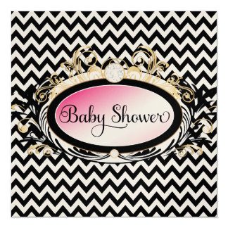 "311 Opulent Pink Chevron Baby Shower Shiny Paper 5.25"" Square Invitation Card"