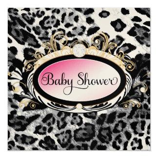 311 Opulent Pink Leopard Baby Shower Shiny Paper Card
