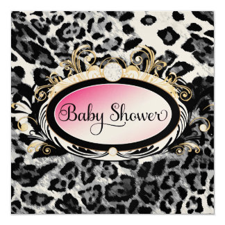 """311 Opulent Pink Leopard Baby Shower Shiny Paper 5.25"""" Square Invitation Card"""