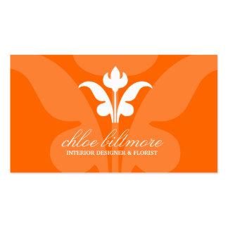 311 Orange Floral Flare Business Cards