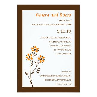 311-ORANGE PASSION FLOWER 5X7 PAPER INVITATION CARD