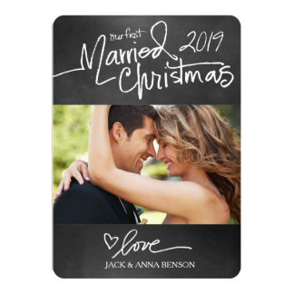 311 Our First Married Christmas Holiday Card Chalk