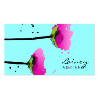 311 Passionate Pink Poppy Blue Business Card Template
