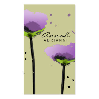 311-Passionate Poppy Lavender | Sage Double-Sided Standard Business Cards (Pack Of 100)