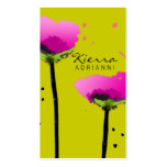 311-PASSIONATE POPPY   PEA GREEN BUSINESS CARD