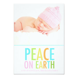 "311 Peace on Earth Holiday Card Pink Baby 5"" X 7"" Invitation Card"