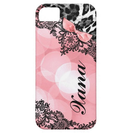 311 Peach Leopard Dream in Lights Lace faux bow iPhone 5 Cases
