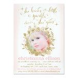 "311 Peach She Leaves A Little Sparkle Floral 5"" X 7"" Invitation Card"
