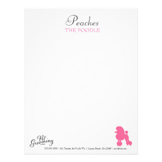 311 Peaches the Poodle Pet Grooming Letterhead