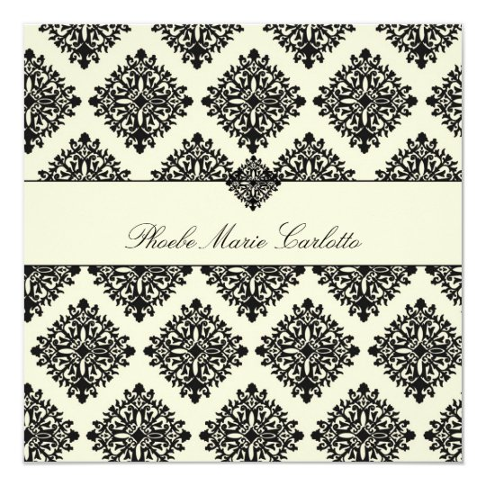 311-Phoebe Cream & Black Damask Invitation