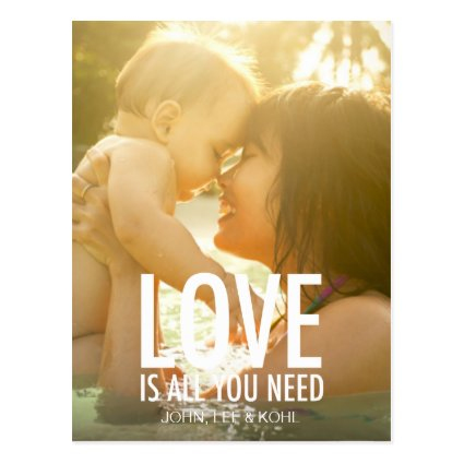 311 Photo Love is all You Need White with Hearts Postcards