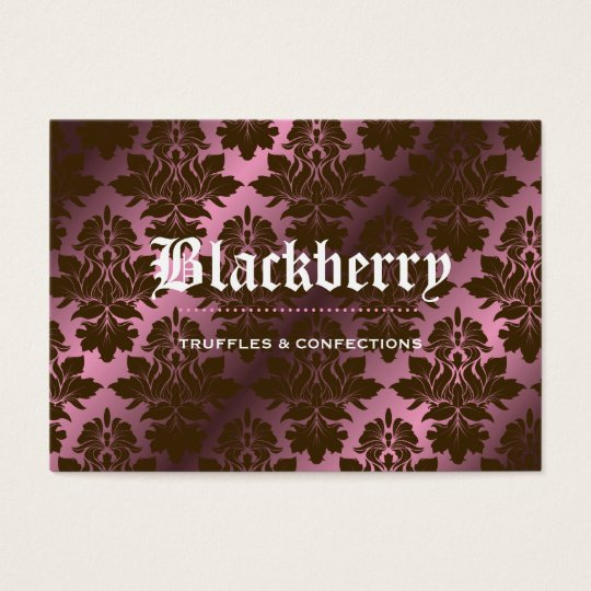 """311-Pink Blackberry """"Pure"""" Chocolate Damask Business Card"""