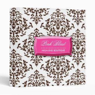 311-Pink Blast Chocolate Brown Damask Binder