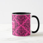 311-Pink Blast Hot Pink Damask Coffee Mug